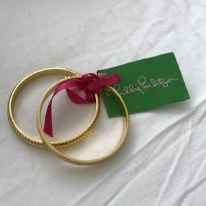 Lilly Pulitzer. Bangle Bracelets. Gold.